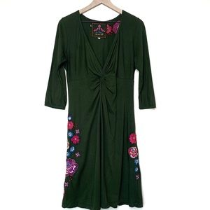 Johnny Was Floral Embroidered Green Dress Size M